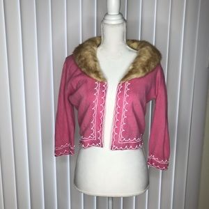 VINTAGE CASHMERE SWEATER WITH MINK COLLAR SIZE S